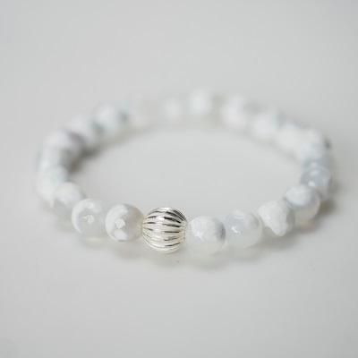 Бял петнист ахат - гривна от естествени камъни